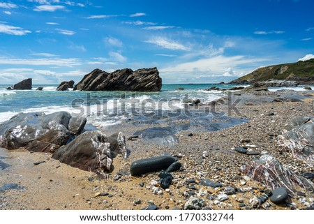 On the beautiful beach at Dollar Cove Gunwalloe Cornwall England UK Europe