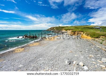 Overlooking the beach at Dollar Cove Gunwalloe Cornwall England UK