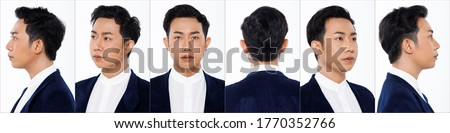 Collage Group Face Head Shot Portrait of 20s Asian man black hair suit jacket pant and sneaker. Office boy turns 360 angle around rear side back view many looks over white Background isolated Royalty-Free Stock Photo #1770352766