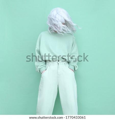 Aqua menthetrends. Fashion Casual look Girl minimal aesthetic. Monochrome color design #1770433061