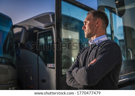 Shuttle Buses Public Transportation Company Owner Staying Proud in Front of His Vehicles. Transportation Industry Theme. #1770477479
