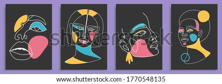 Modern abstract faces with abstract shapes. Minimalism concept. Line art drawing style. Contemporary silhouette of woman. Hand drawn trendy vector posters, illustrations for print. Royalty-Free Stock Photo #1770548135
