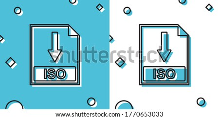 Black ISO file document icon. Download ISO button icon isolated on blue and white background. Random dynamic shapes