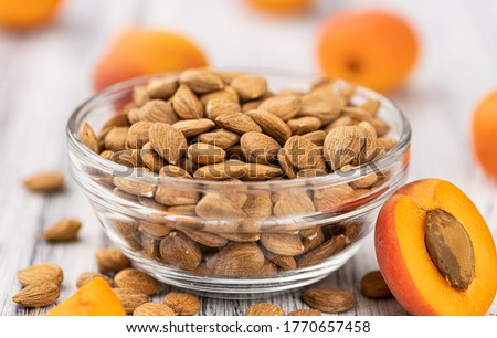 Portion of shelled Apricot Kernels (close up shot; selective focus) Royalty-Free Stock Photo #1770657458