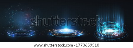 HUD, GUI futuristic portal, hologram. Abstract digital user interface technology. A set of futuristic circles virtual interface elements. Abstract technology communication design innovative background #1770659510
