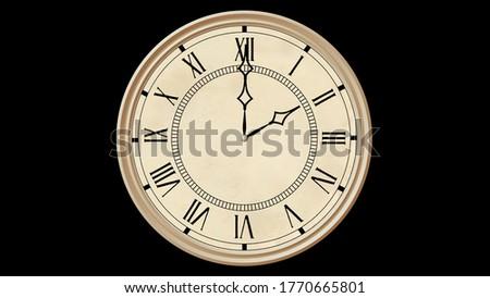 Vintage victorian clock on black background. 3d rendering.