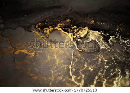Luxury abstract fluid art painting background alcohol ink technique Brown and gold texture. Abstract background, wallpaper. Marble texture.  Royalty-Free Stock Photo #1770725510