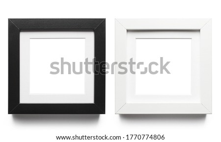 Set of black and white square frames, isolated on white background