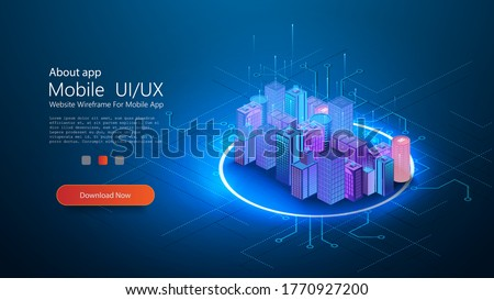 Futuristic infrastructure of a smart night city. Residential urban buildings for isometric innovation flat design. Smart city vector illustration of town with digital communication technology. Vector Royalty-Free Stock Photo #1770927200
