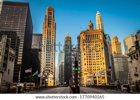 Michigan Ave. the home of the Chicago Water Tower, the Art Institute of Chicago, Millennium Park, and the shopping on the Magnificent Mile. Royalty-Free Stock Photo #1770940265