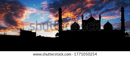 Mosques shillhout photo with beautiful cloudy sky #1771050254