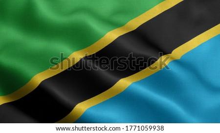 Close up waving flag of Tanzania  Royalty-Free Stock Photo #1771059938