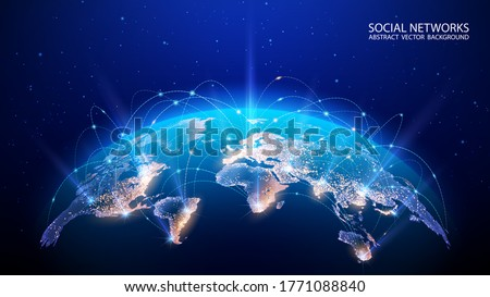 Vector. Map of the planet. World map. Global social network. Future. Blue futuristic background with planet Earth. Internet and technology. Floating blue plexus geometric background.   Royalty-Free Stock Photo #1771088840