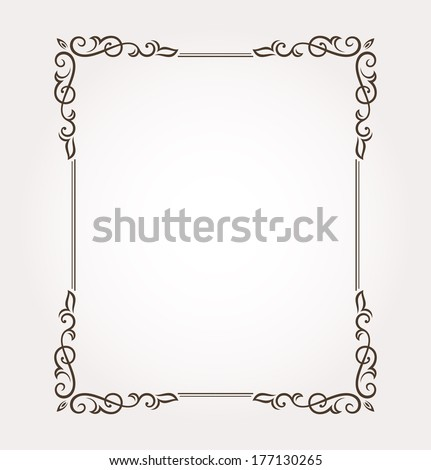Calligraphic frame and page decoration. Vector illustration #177130265