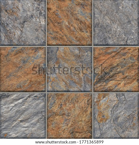 Ceramic tile floor design natural stone with gray color