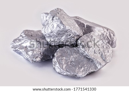 Chrome elemental specimen sample isolated on white background, mining and gemstone concept.