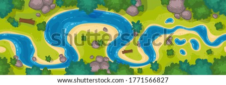 River top view, cartoon curve riverbed with blue water, coastline with rocks, trees and green grass. Summer nature landscape, beautiful valley, scenic picturesque natural stream, vector illustration Royalty-Free Stock Photo #1771566827