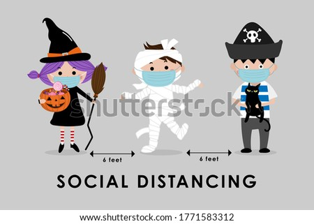 COVID-19 and social distancing infographic with cute Halloween cartoon character. Kids in witch, mummy and pirate costume with surgical mask. Corona virus protection. -Vector