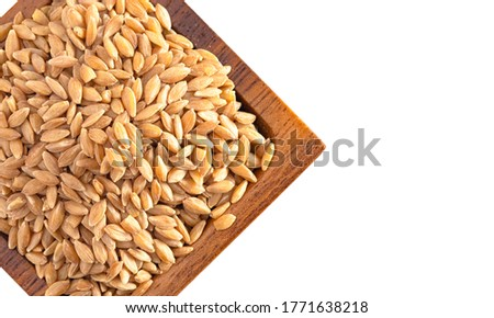 A Wooden Bowl of Organic Einkorn Rice Isolated on a White Background #1771638218