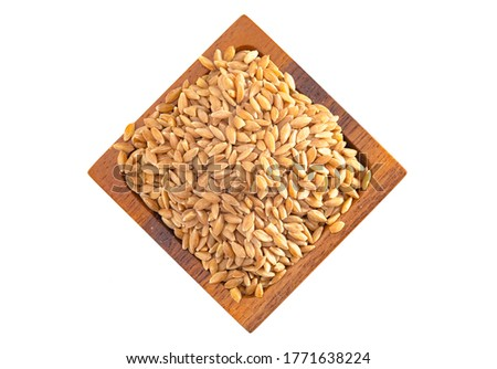A Wooden Bowl of Organic Einkorn Rice Isolated on a White Background #1771638224