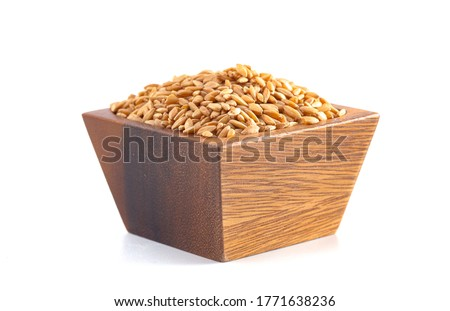 A Wooden Bowl of Organic Einkorn Rice Isolated on a White Background #1771638236