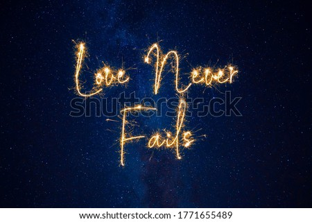 Inspirational Christian Bible Quote Love Never Fails On Summer Starry Sky #1771655489