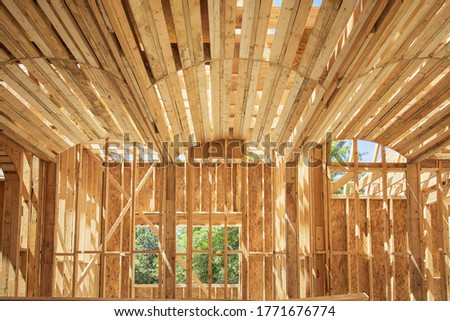 New construction home framing. Ceiling frame and arch structure details.  #1771676774