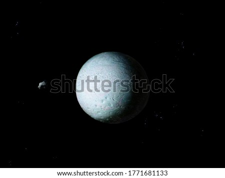Stone planet covered in ice with asteroid in deep space Royalty-Free Stock Photo #1771681133