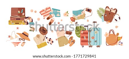 Set of travel stuff vector illustration. Collection of items for vacation or journey decorated by tropical leaves, shells and flowers isolated. Clothes, accessories, shoes and suitcase for tourism #1771729841