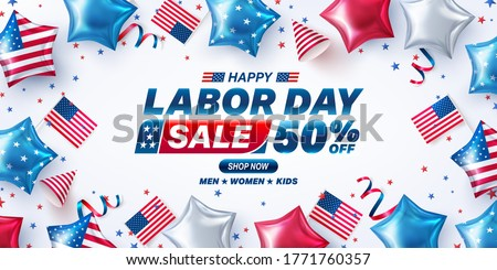 USA Labor Day Sale poster template.USA labor day celebration with american balloons flag.Sale promotion advertising banner template for USA Labor Day Brochures,Poster or Banner.Vector illustration #1771760357