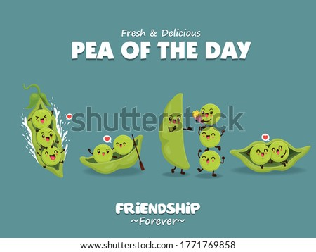 Vintage vegetable poster design with vector peas character. Royalty-Free Stock Photo #1771769858