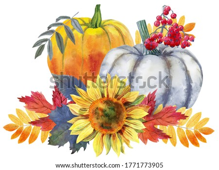 Thanksgiving composition of pumpkin and autumn leaves