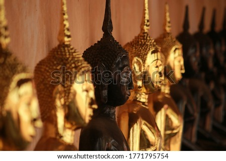 Traditional Thai style Buddha statue for worship in Thai temple #1771795754
