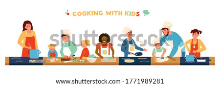 Cooking With Children Horizontal Banner. Different age and race children In Aprons And Chef Hat Cooking With Adults. Making soup, Pancakes, Salad, Baking. Kids Cooking Class. Flat Vector Illustration. #1771989281