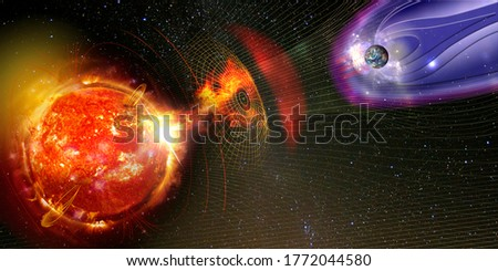 Earth's magnetic field against Sun's solar wind, flow of particles. Element of this image is furnished by NASA Royalty-Free Stock Photo #1772044580