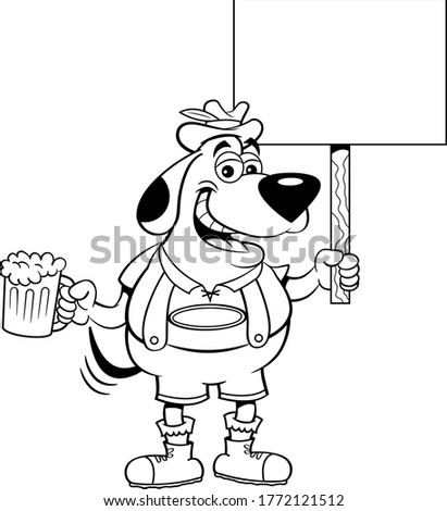 Black and white illustration of a dog in lederhosen holding a beer and a sign.