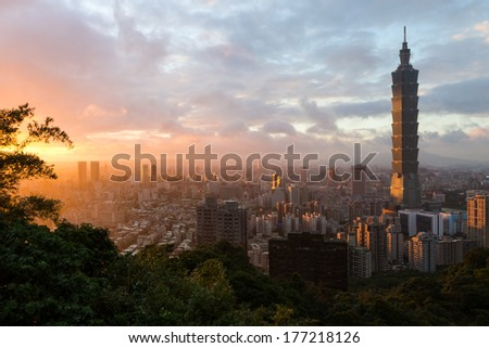 Sunset cityscape with Taipei's skyline in Taiwan #177218126