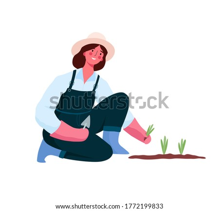 Girl gardening, taking care of her plants. Young Woman Working in Garden or Farm. Woman planting gardens flowers, agriculture gardener hobby and garden job. Organic gardening illustration. #1772199833