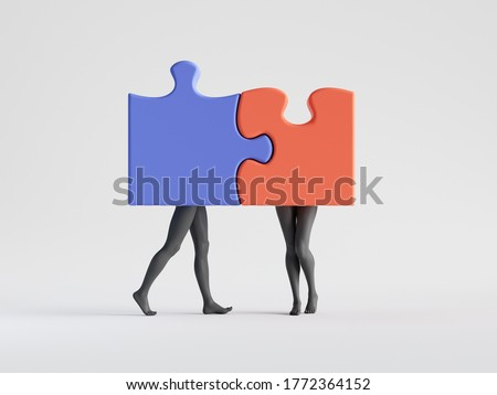3d render. Couple in love, abstract puzzle pieces with mannequin legs attached together. Partnership metaphor. Family relations social role play. Minimal clip art isolated on white background