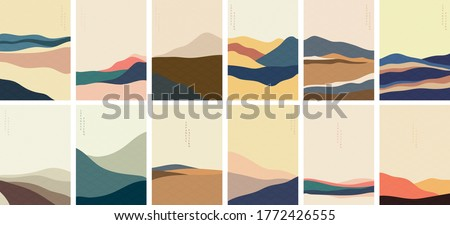 Landscape background with Japanese pattern vector. Mountain template with curve elements in vintage style. Royalty-Free Stock Photo #1772426555