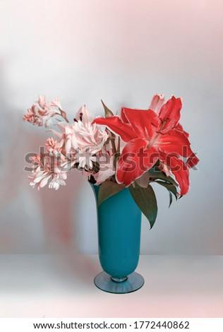 Gorgeous Modern Artwork Interior Design Floral Bouquet In Vase With Modern Color Tones #1772440862