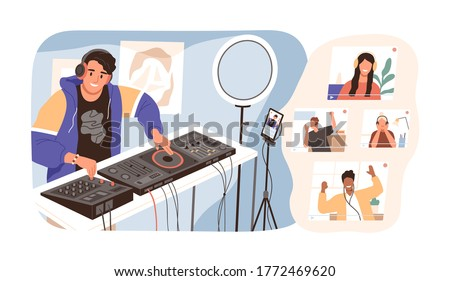 Modern guy online dj mixing music at live stream vector illustration. Smiling man in headphones have virtual party with diverse people isolated. Joyful male create sound entertainment for audience #1772469620
