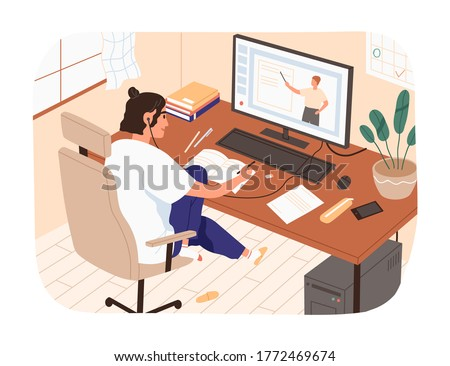 Smiling female study online looking at computer screen making notes vector illustration. Domestic girl sitting on chair watching internet courses. Modern student or pupil studying remotely at home #1772469674