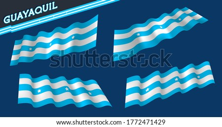 Guayaquil - ECUADOR city flag. Light blue and white. White stars. Flat and waving Guayaquil Flag. Vector illustration. Flag wavy abstract background.  #1772471429