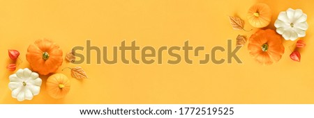 Autumn composition. Fresh three pattypan squash, pumpkin and autumn leaves herbarium on yellow background with copy space. Top view Flat lay Banner. #1772519525