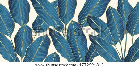 Luxury gold and nature line art ink drawing background vector. Botanical leaves, Canna leaves, banana leaf, and Floral pattern  vector illustration. #1772591813