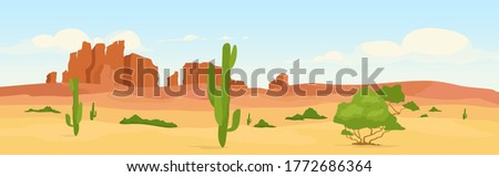 Western dry desert at day time flat color vector illustration. Wasteland travel destination. Wilderness morning scenery. Wild west 2D cartoon landscape with cactus and canyons on background Royalty-Free Stock Photo #1772686364