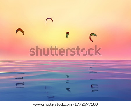 Kitesurfs and sea surface flying in the sky at sunset. Fantasy colorful photo. Screensaver.