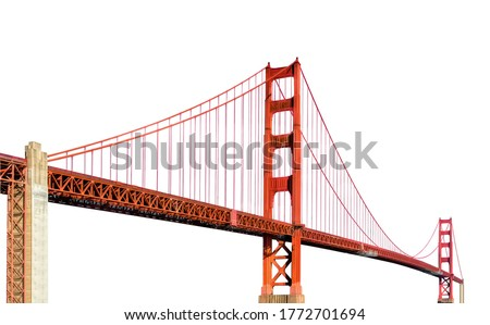 Golden Gate Bridge (San Francisco, California, USA) isolated on white background Royalty-Free Stock Photo #1772701694