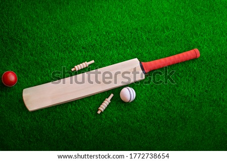 cricket bat and ball place on cricket ground pitch, green grass Royalty-Free Stock Photo #1772738654